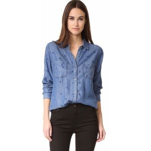 Rails Carter Pigment Star Button Down Chambray Top